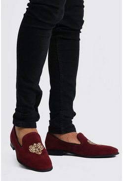 Mens Red Velvet Embroidered Loafer
