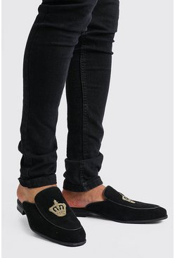 Mens Black Slip On Embroidered Loafer