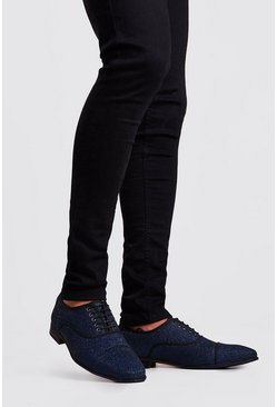 Mens Navy Full Glitter Lace Up
