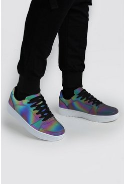 Multi Rainbow Reflective Lace Up Trainer