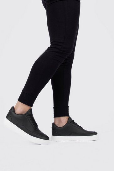 Black Smooth Suede Look Trainer