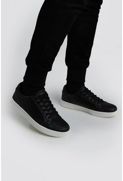 Black Material Insert Lace Up Sneaker