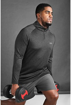 Top Big And Tall MAN Active con maniche raglan, Nero