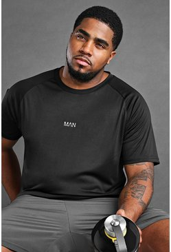 Black Big And Tall MAN Active Longline T-Shirt