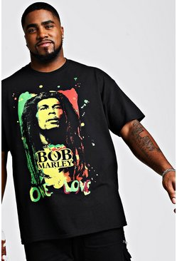 Mens Black Big And Tall Bob Marley License T-Shirt