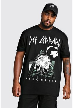 Camiseta con licencia de Def Leppard Big And Tall, Negro