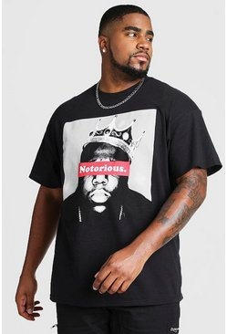 "Black Big & Tall - ""Notorious"" T-shirt med tryck"