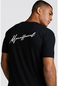 Mens Black MAN Official Script Front & Back Print T-Shirt