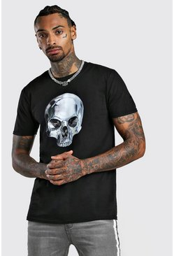 Mens Black Skull Print T-Shirt
