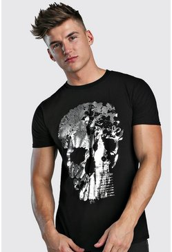 T-shirt con stampa laminata London Skull, Nero