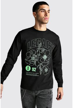 Black Long Sleeve Legacy Print T-Shirt