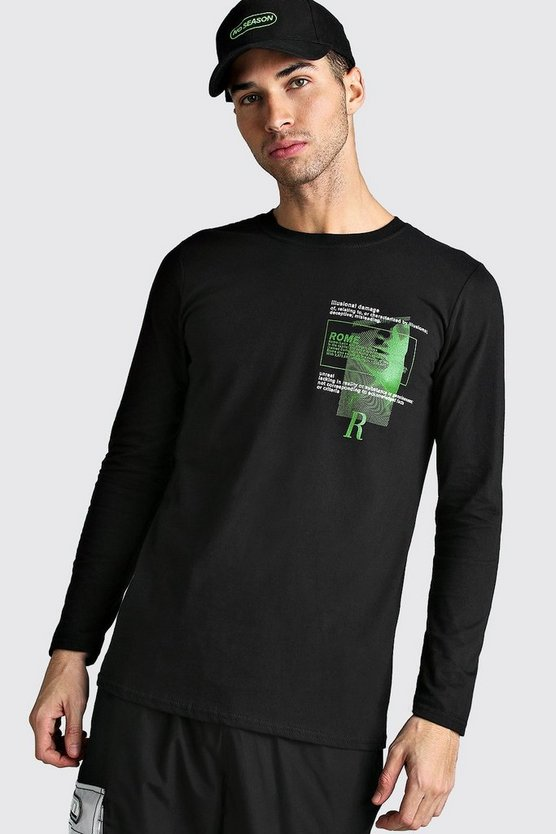 Black Long Sleeve Rome Print T-Shirt