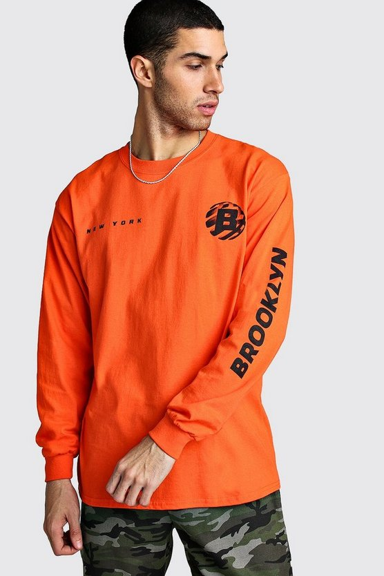 Orange Long Sleeve Brooklyn Print T-Shirt