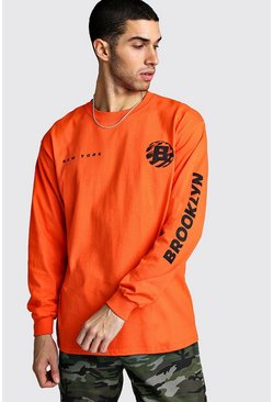 Mens Orange Long Sleeve Brooklyn Print T-Shirt