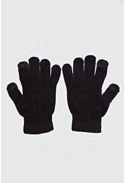 Mens Black Touch Screen Gloves