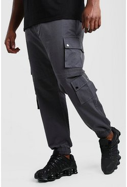 Pantaloni tuta cargo Big And Tall con multi tasche e rivestimento, Canna di fucile