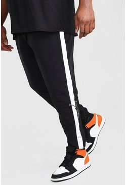 Pantalones de correr con panel reflectante de shell Big And Tall, Negro