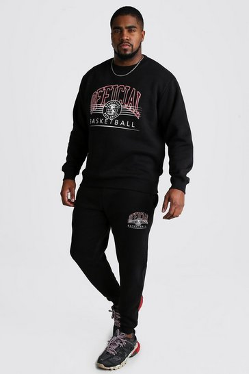 Black Big And Tall Varsity Print Tracksuit