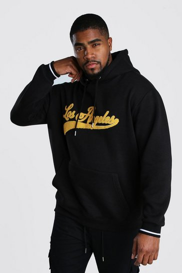 Black Big And Tall Varsity Hoodie