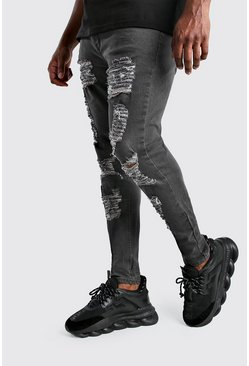 Grey Big And Tall Ripped Super Skinny Jean