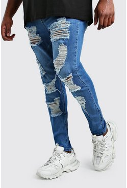 Big and Tall Ripped Super Skinny Jeans, Mittelblau