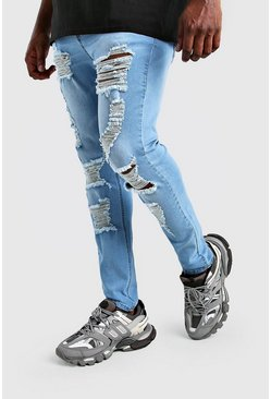 Jeans super skinny rasgados Big And Tall, Azul claro