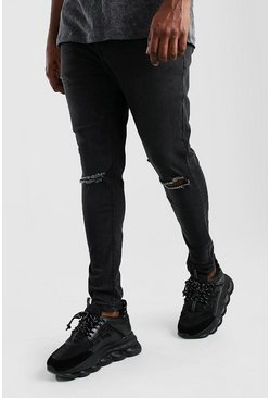 Big and Tall Super Skinny Jeans mit zerrissenem Knie, Anthrazit