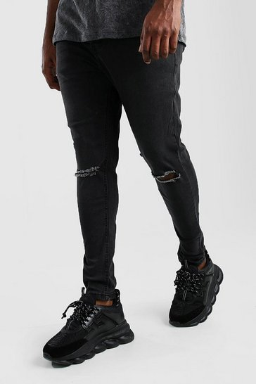 Charcoal Big And Tall Ripped Knee Super Skinny Jean