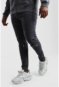 Grey Big & Tall - Super skinny jeans med slitna knän