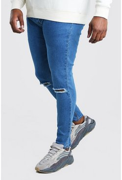 Big and Tall Super Skinny Jeans mit zerrissenem Knie, Mittelblau