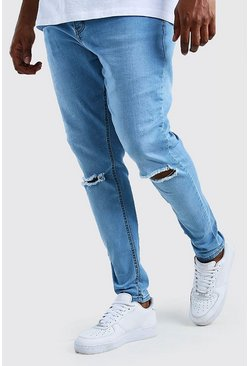 Big and Tall Super Skinny Jeans mit zerrissenem Knie, Hellblau