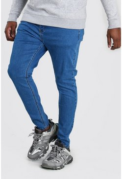 Big And Tall - Jean super skinny, Bleu moyen