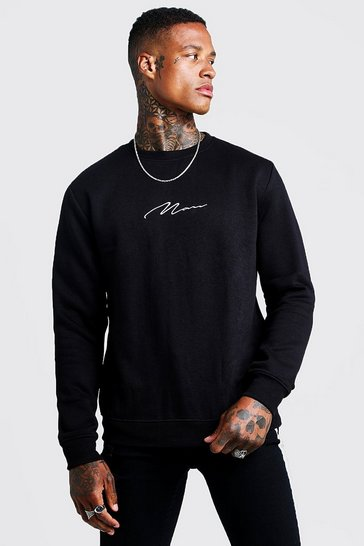 Black MAN Signature Embroidered Sweater