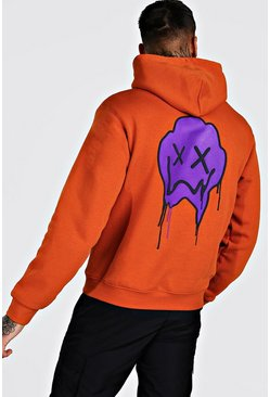 Orange Drip Face Back Print Over The Head Hoodie
