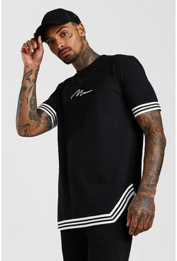 Black MAN Signature T-shirt med kantband