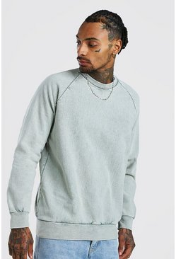 Sage Acid Wash Raglan Sweatshirt