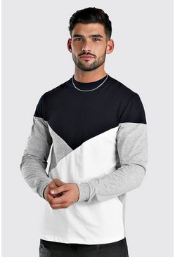 Navy Colour Block Long Sleeve T-Shirt