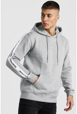 Grey marl Hoodie With MAN Official Tape