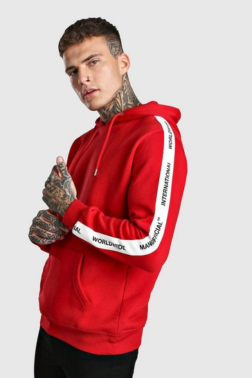 Red Hoodie With MAN Official Tape