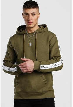 Khaki Hoodie With MAN Signature Tape