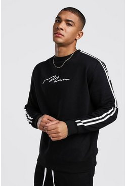 Black MAN Signature Sweatshirt With Tape