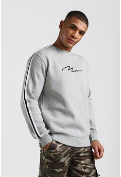 Grey MAN Signature Sweatshirt With Tape