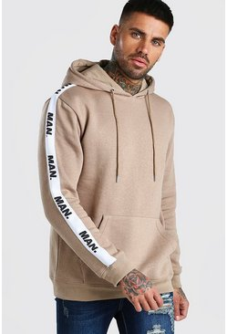 Taupe Hoodie With MAN Repeat Tape