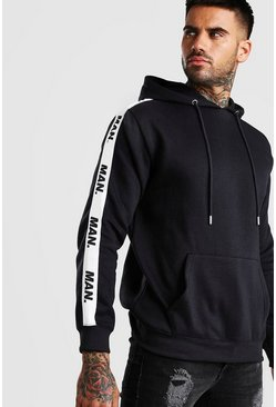 Charcoal Hoodie With MAN Repeat Tape