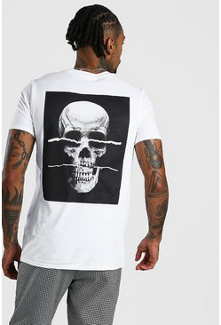 Mens White Ripped Skull Back Print T-Shirt