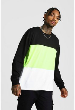 Colour Block Oversized Long Sleeve T-shirt, Neon-green