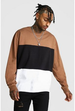 Colour Block Oversized Long Sleeve T-shirt, Tobacco