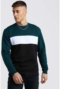 Teal Colour Block Sweater
