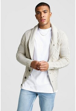 Mens Stone Long Sleeve Cardigan With Shawl Collar