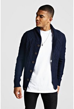 Navy Long Sleeve Cardigan With Shawl Collar